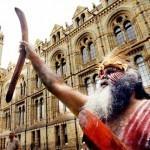 Aboriginal Protestor - Galloway repatriates Aboriginal bones in A Room Full of Bones.