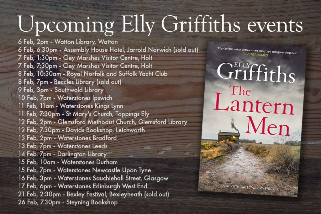 Elly Griffiths - tour dates - see her Facebook page for more details